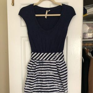 Anthropologie Navy dress with striped skirt